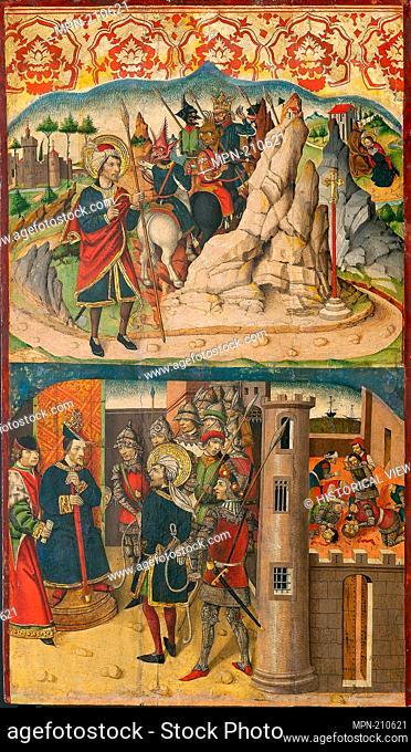 Saint Christopher Meets Satan; Saint Christopher before the King of Lycia - 1480/85 - Martín de Soria Spanish, active 1449–87 - Artist: Martin de Soria