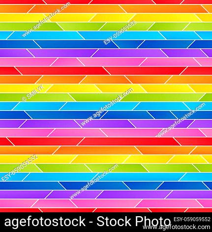 Striped Rainbow Seamless Pattern of Simple Asymmetric Geometric Shapes. Universal Abstract Continuous Background of Eight Colors