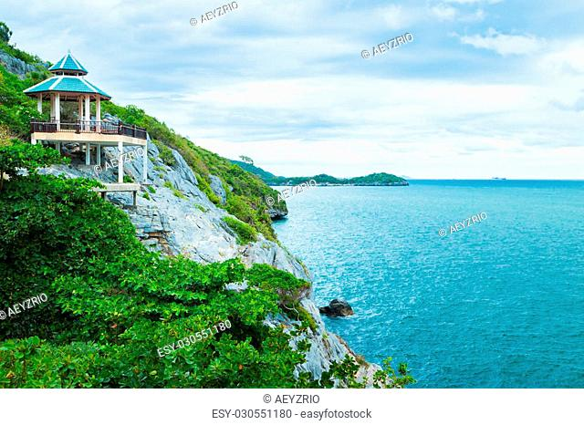 Beautiful viewpoint of the island and sea from is a famous attractions of Chonburi, Thailand