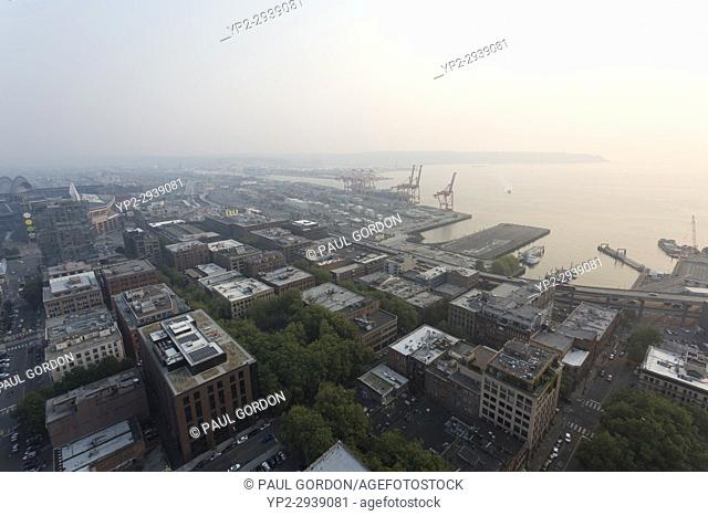 Seattle, Washington: The Port of Seattle is obscured as wildfires in Canada cloak downtown Seattle in thick haze and smoke