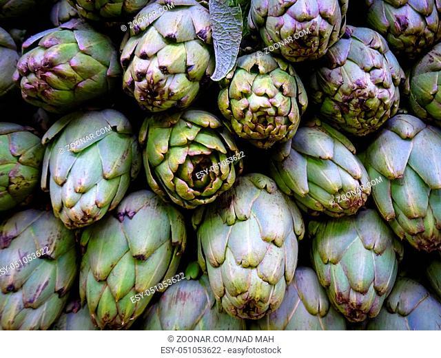 artichoke - Vegetable background with fresh artichokes -