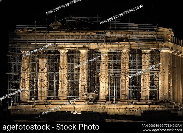 30 September 2020, Greece, Athen: The Acropolis shines in a new light: the new lighting in the archaeological site was inaugurated by the Ministry of Culture
