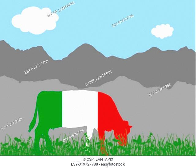 Cow alp and italian flag