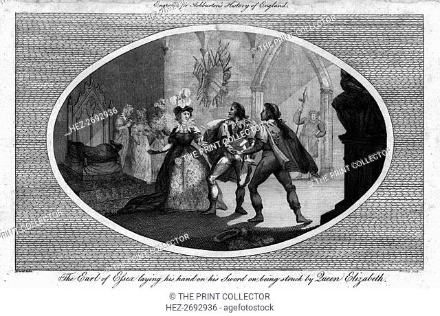 'The Earl of Essex laying his hand on his Sword on being struck by Queen Elizabeth.', (1792). Artist: Unknown