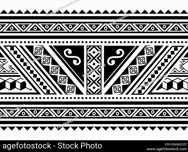 Maori traditional art repetitive design with triangles, zig-zag, abstract shapes in black on white