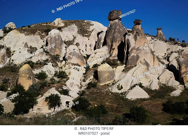 Turkey, Cappadocia, Urgup, fairy chimney and rock house
