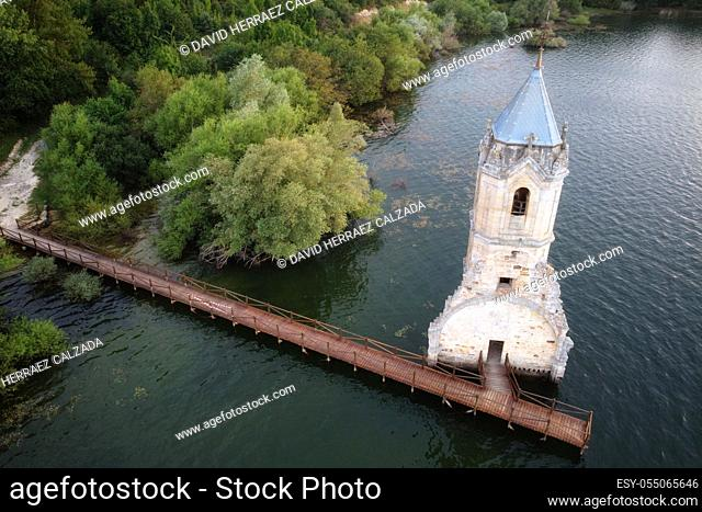 Aerial view of The fish cathedral. Sunken church ruins located in the Ebro reservoir in Cantabria, in the north of Spain. High quality photo