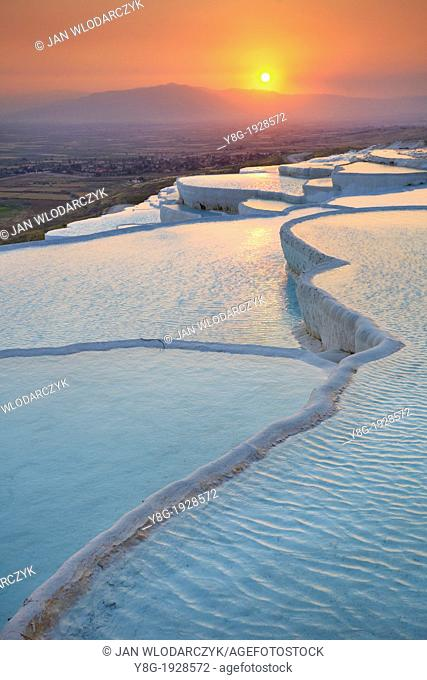 Pamukkale, sunset landscape of the limestone terraces, Pamukkale near Denizli, Turkey, Unesco