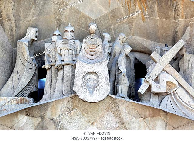 Sculpture on facade of Basilica Sagrada Familia, Barcelona, Catalonia, Spain