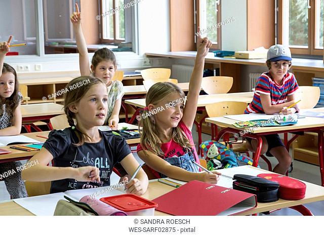 Active pupils at classroom