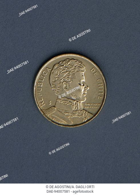 1 peso coin, 1985, obverse, Bernardo O'Higgins Riquelme (1778-1842). Chile, 20th century