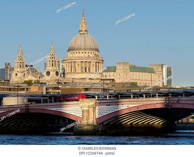 St. Paul's Cathedral and Blackfriar's Bridge; London, England