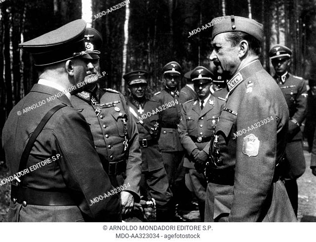 Adolf Hitler, Wilhelm Keitel and Carl Gustaf Mannerheim. Adolf Hitler talking to the German field marshal Wilhelm Keitel and the Finnish marshal Carl Gustaf...
