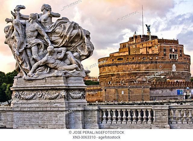 Castle of the Holy Angel from Ponte Vittorio Emanuele II bridge, Mausoleum of Hadrian, Castel Sant'Angelo, Rome, Lazio, Italy, Europe