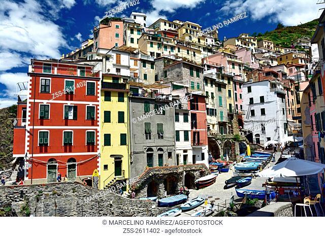Panoramic view of Riomaggiore, one of the five famous fisherman villages of Cinque Terre. La Spezia, Cinque Terre National Park, Liguria, Italy