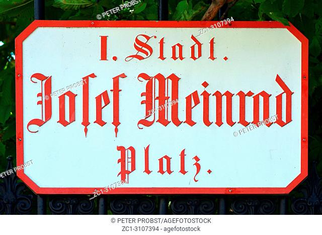 Street sign of the Josef Meinrad Platz at the Burgtheater in Vienna - Austria