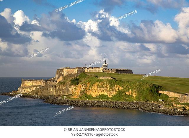 Setting sunlight over fortress El Morro, old town, San Juan, Puerto Rico