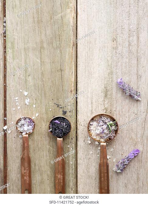 Three spoons of lavender salt