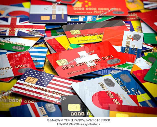 Many credit cards of a different countries. Opening a bank account in any country of the world. 3d illustration
