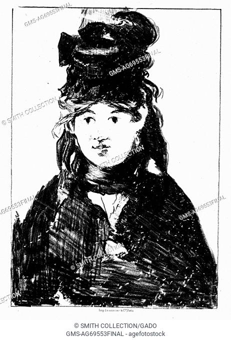 A lithograph from a portrait of Berthe Morisot, she was a French painter that was a member of group of artists who came to be known as the Impressionists