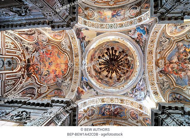 Fresco II trionfo di Santa Caterina by Filippo Randazzo from ceiling of baroque church Chiesa di Santa Caterina in Palermo Italy