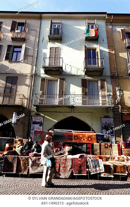 Italy, piemont, Cuneo province, city of Cuneo famous for its friday market