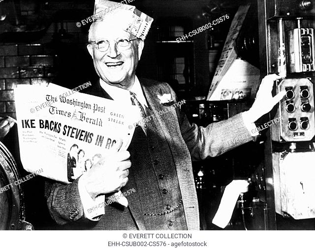Eugene Meyer holds the first copy of the new Washington Post and Times Herald. March 17, 1954. The chairman of the Board of the Washington Post