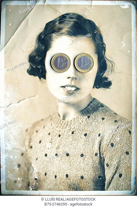 Antique portrait of young woman looking at the camera, with euro coins on her eyes