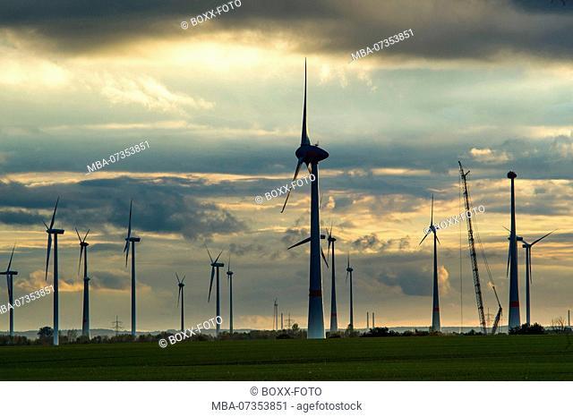 Wind turbines in Altentreptow, Mecklenburg-Western Pomerania, Germany