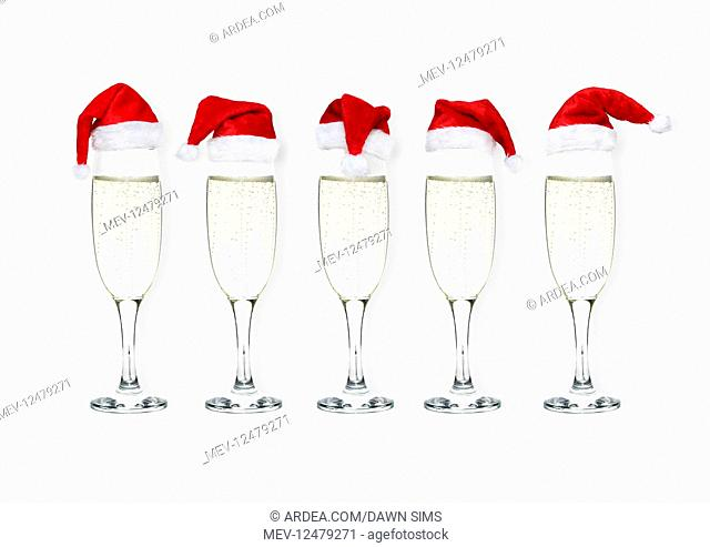 Prosecco / Champagne glasses with Christmas hats on