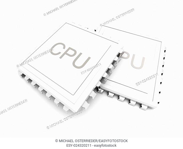 3D rendered Illustration. Isolated on white. Two CPUs