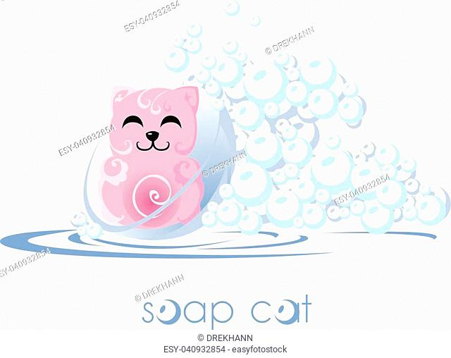 Soap cat. Bubbles and water. Cartoon kitty