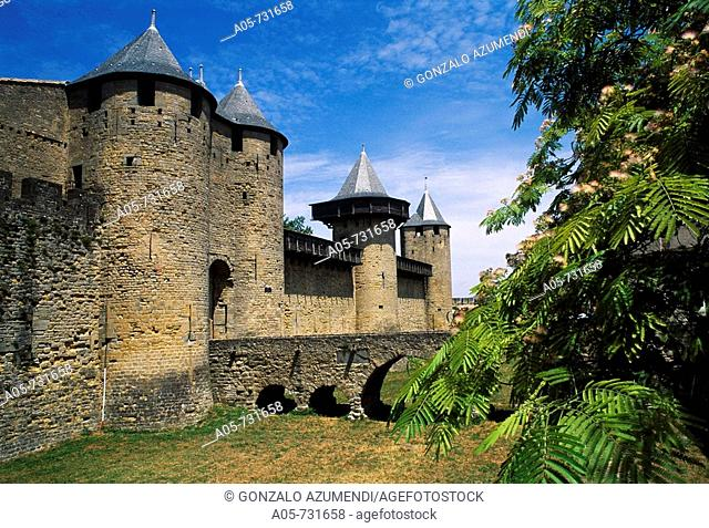 Château Comtal (12th century), Carcassonne medieval fortified town. Aude, Languedoc-Roussillon, France