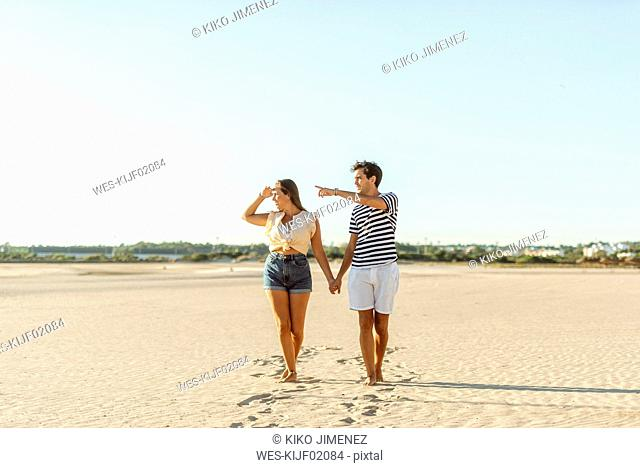 Young couple walking hand in hand on the beach