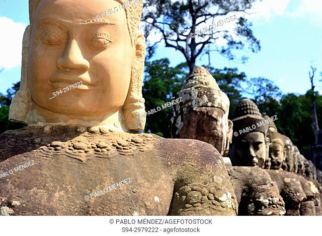 Stone faces in South Gate of Angkor Thom, Angkor area, Siem Reap, Cambodia