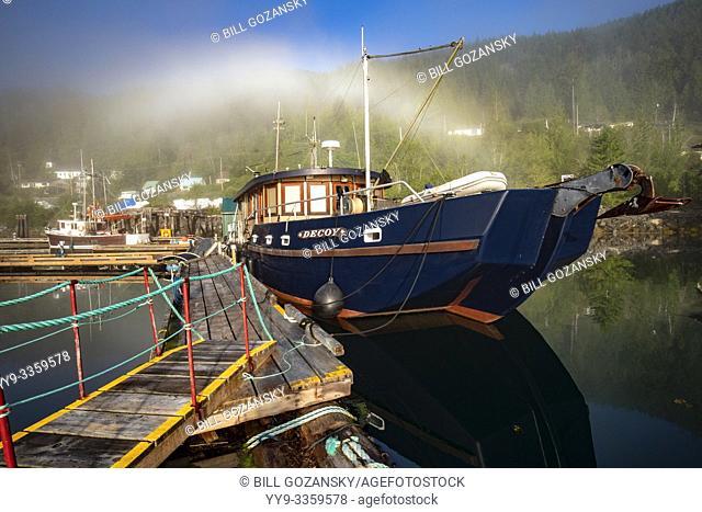 """Fishing boat named """"""""Decoy"""""""" at Westview Marina in Tahsis, near Gold River, Vancouver Island, British Columiba, Canada"""