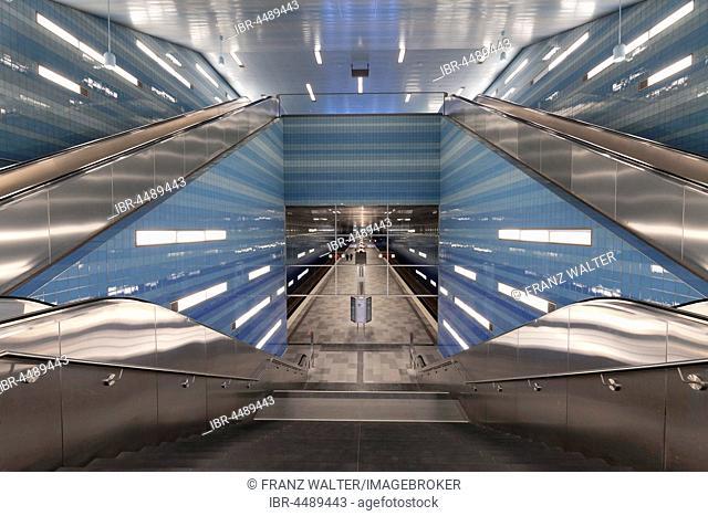 Subway station Überseequartier, HafenCity, Hamburg, Germany