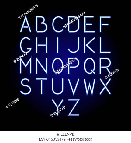 Glowing blue neon alphabet letters from A to Z. Vector illustration