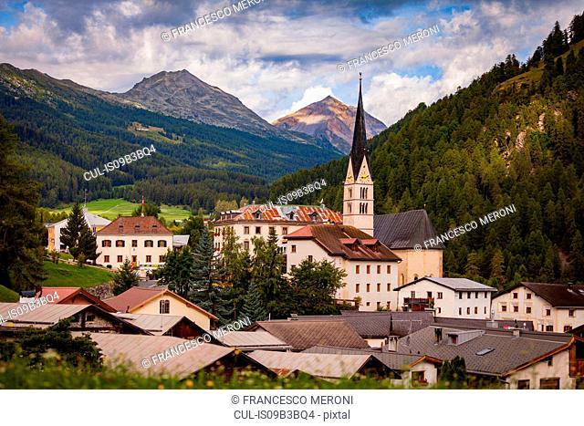Church and rooftops of Santa Maria village, South Tyrol, Italy