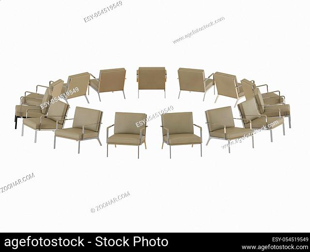 Beige office armchair stands in a circle 3d rendering