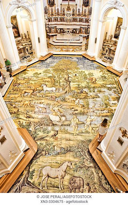 "Majolica-floor ""The expulsion of paradise"" giant mosaic of ceramic, 1761 by the master Leonardo Chiaiese, Chiesa di San Michele Arcangelo"
