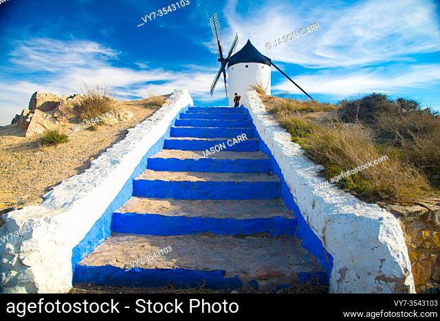 TOLEDO, SPAIN - February 4, 2019: Consuegra is an a windmills area which has a story about Don Quijote. Spain is an European country which has many touristic...