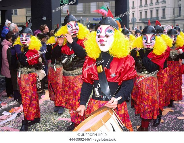 Switzerland, Basel, Fastnacht, carnival, flute players in costumes in traditional parade