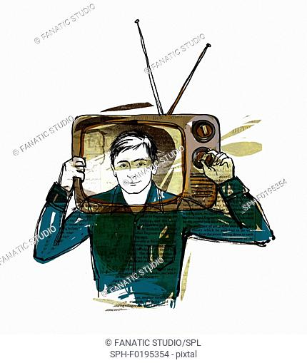 Illustration of man with head in television