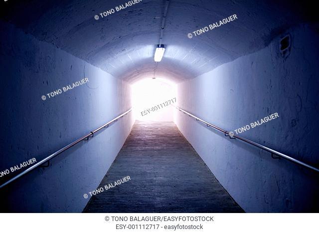 Ibiza island tunnel way up to the castle light effect Balearic Island