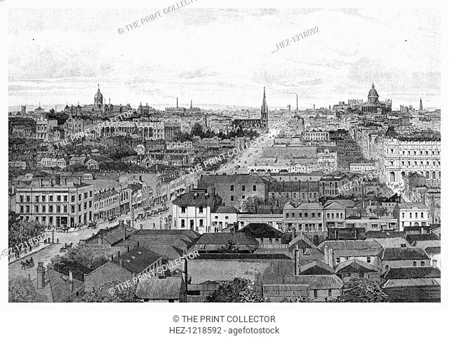 Melbourne looking east, Victoria, Australia, 1886. Melbourne is the state capital and largest city in the Australian state of Victoria