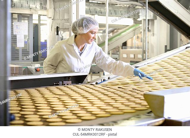 Worker checking production line in factory
