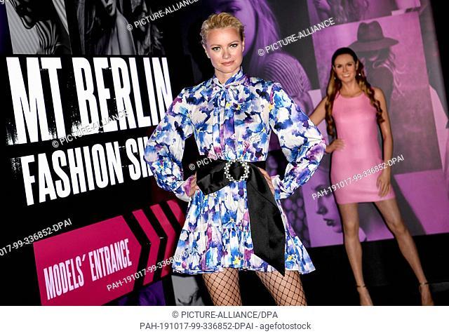 17 October 2019, Berlin: Franziska Knuppe at the opening of the new fashion section at Madame Tussauds Berlin. Photo: Britta Pedersen/dpa-Zentralbild/dpa