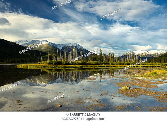 Mountains reflected in Vermilion Lakes, Banff National Park, Alberta, Canada
