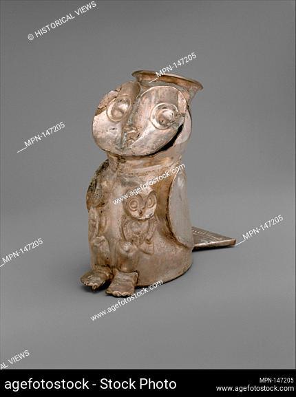Owl Vessel. Date: 14th-15th century; Geography: Peru; Culture: Chimú; Medium: Silver; Dimensions: H. 6 1/2 x W. 3 x D. 6 in. (16.5 x 7.6 x 15